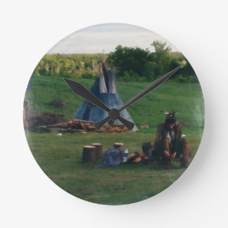 Lonely Native American Indian Round Clock