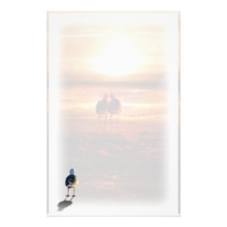 Lonely Seagull on the Beach Stationery