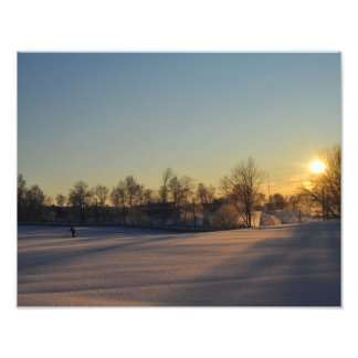 Lonely skier in Norwegian winter sunset Photo Print