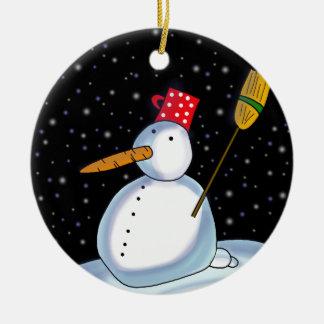 Lonely Snowman Ceramic Ornament