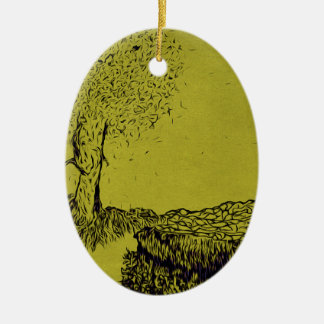 Lonely Tree Ceramic Oval Ornament