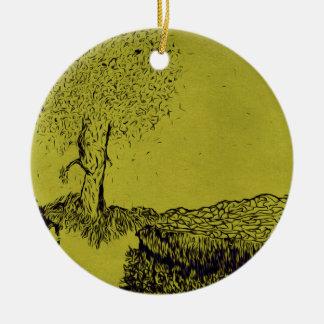 Lonely Tree Round Ceramic Ornament