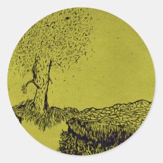 Lonely Tree Round Sticker