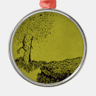 Lonely Tree Silver-Colored Round Ornament