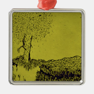 Lonely Tree Silver-Colored Square Ornament
