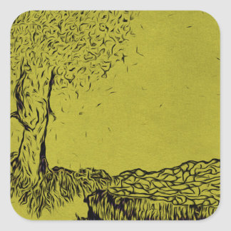 Lonely Tree Square Sticker