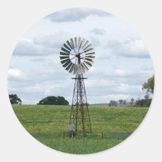 Lonely Windmill Round Sticker