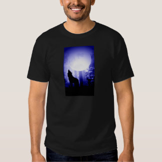 Lonely Wolf Howling at Moon T Shirt