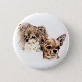 Long and smooth coat chihuahuas 2 inch round button