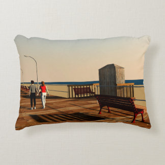Long Beach Boardwalk, Long Island, New York Decorative Pillow