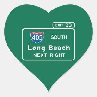 Long Beach, CA Road Sign Heart Sticker