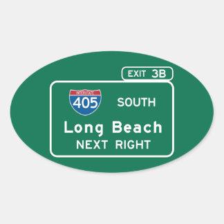 Long Beach, CA Road Sign Oval Sticker