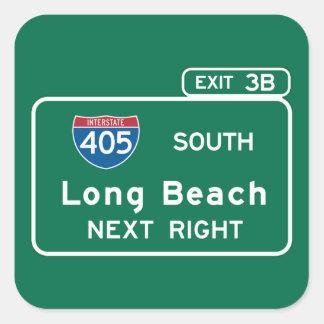 Long Beach, CA Road Sign Square Sticker