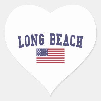 Long Beach CA US Flag Heart Sticker