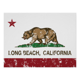 Long Beach California Republic Flag Poster
