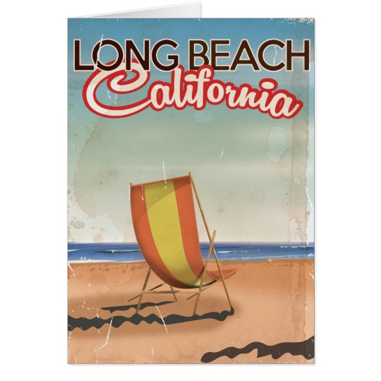 Long Beach California vintage travel poster Card