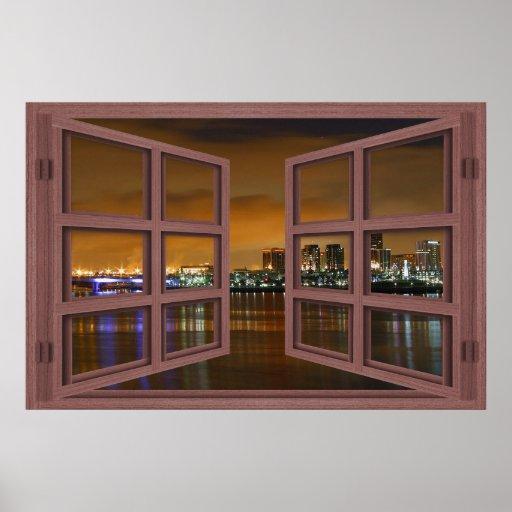 Long Beach Skyline At Night Open Window Poster