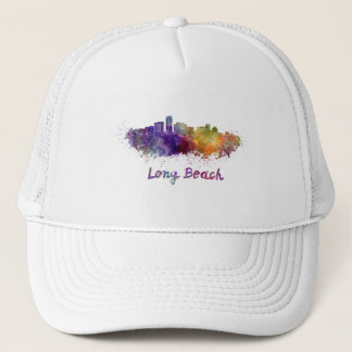 Long Beach skyline in watercolor Trucker Hat