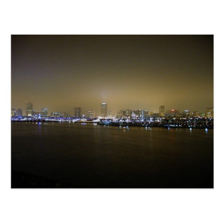 Long Beach Skyline Night City Postcard