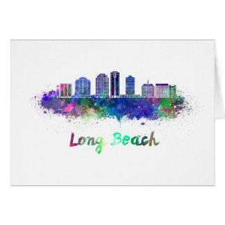 Long Beach V2 skyline in watercolor Card