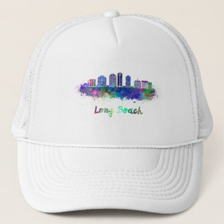 Long Beach V2 skyline in watercolor Trucker Hat
