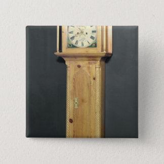 Long-case clock, with enamel painting 2 inch square button