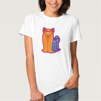Long chien de bande dessinée de Yorkie de cheveux T Shirts