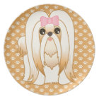 Long Coat Shih Tzu Puppy Dog Cartoon Animal Plate
