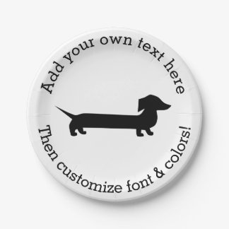 Long Dachshund Funny Drawing Paper Plate