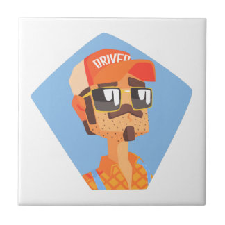 Long Distance Truck Driver Portrait Tile