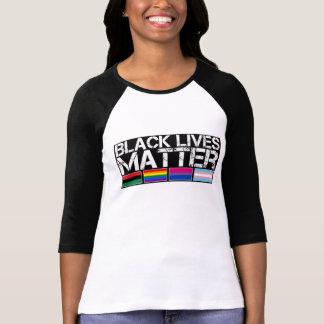 Long-Douille noire de base-ball de la matière LGBT Tee Shirts