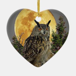 LONG EARED OWL BY MOONLIGHT CERAMIC ORNAMENT