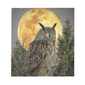 LONG EARED OWL BY MOONLIGHT NOTEPAD