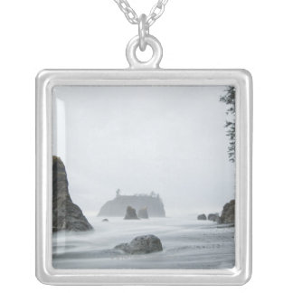 Long exposure of wave motion at Ruby Beach, Silver Plated Necklace