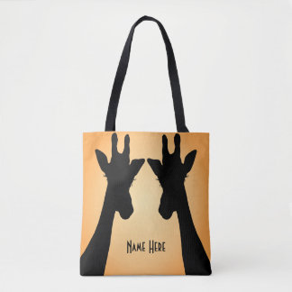 Long Eyelashes Giraffe Custom Text Tote Bag