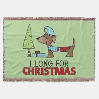 Long for Christmas-Dachshund Throw Blanket