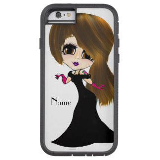Long hair brown eyed Girl caricature personalized Tough Xtreme iPhone 6 Case