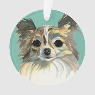 Long Hair Chihuahua Watercolor Portrait