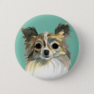Long Hair Chihuahua Watercolor Portrait 2 Inch Round Button