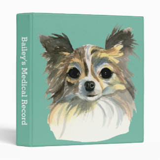 Long Hair Chihuahua Watercolor Portrait 3 Ring Binder