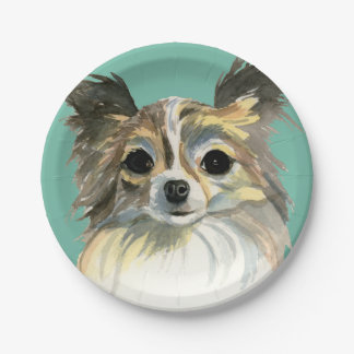 Long Hair Chihuahua Watercolor Portrait 7 Inch Paper Plate