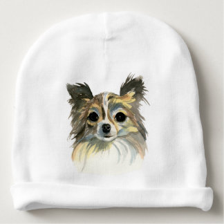 Long Hair Chihuahua Watercolor Portrait Baby Beanie
