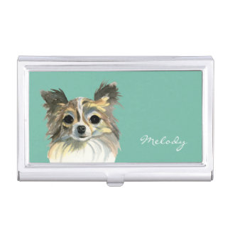 Long Hair Chihuahua Watercolor Portrait Business Card Cases