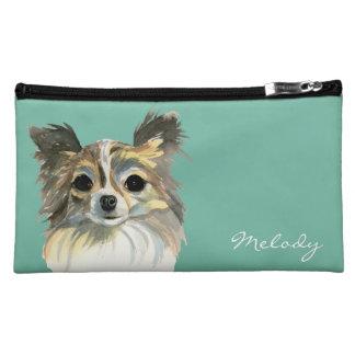 Long Hair Chihuahua Watercolor Portrait Cosmetic Bag