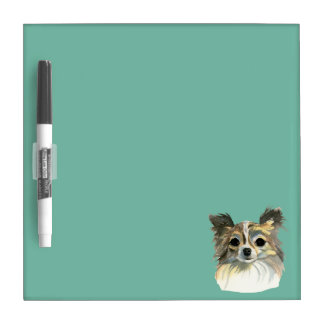 Long Hair Chihuahua Watercolor Portrait Dry Erase Board