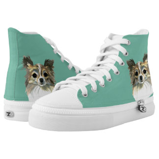 Long Hair Chihuahua Watercolor Portrait High Tops