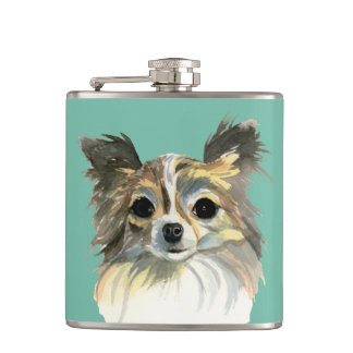 Long Hair Chihuahua Watercolor Portrait Hip Flask