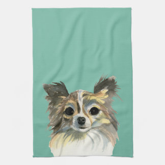 Long Hair Chihuahua Watercolor Portrait Kitchen Towel