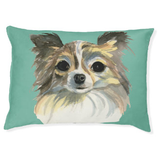Long Hair Chihuahua Watercolor Portrait Large Dog Bed