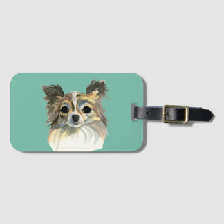 Long Hair Chihuahua Watercolor Portrait Luggage Tag